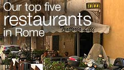 Our top five restaurants in the Rome