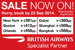 The British Airways SALE is now on! Call for more great fares...