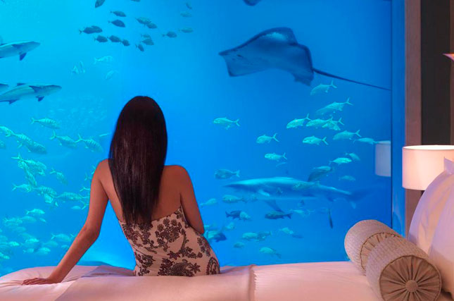 Sleep with the fishes inside a luxury underwater suite at ! Atlantis, The Palm in Dubai